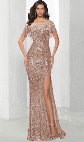 Amazing Fringe Embellished Off the Shoulder High Thigh Slit Sequin Prom Formal Evening Pagaent Dress Gown
