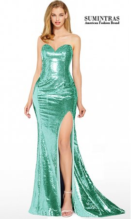 shimmering fully sequined strapless sweetheart high thigh slit prom dress