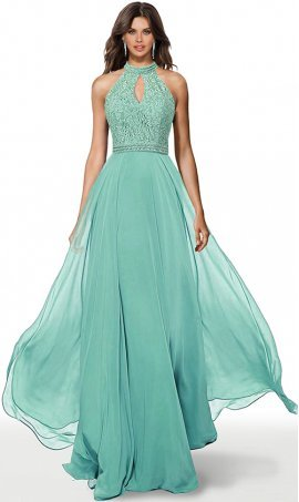 stylish beaded lace bodice keyhole halter neckline cutout back a line chiffon prom formal evening pageant gown dress