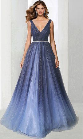 alluring deep v neck beaded waist a line glittery ombre tulle prom ball formal evening pageant gown dress