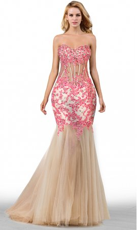 gorgeous sheer illusion beaded lace applique sweetheart floor length tulle mermaid prom formal evening pageant gown dress