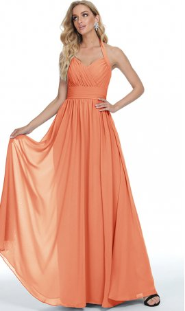charming pleated halter neckline a line chiffon prom formal evening bridesmaid dress