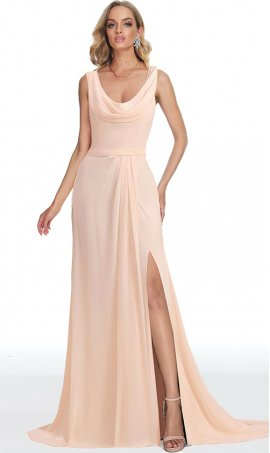 dramatic draped cowl neckline high thigh slit chiffon dress