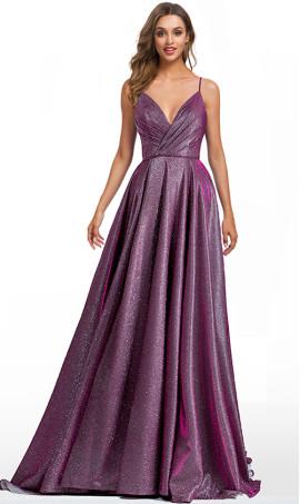 iridescent plunging V-neckline a line glitter ball prom formal dress