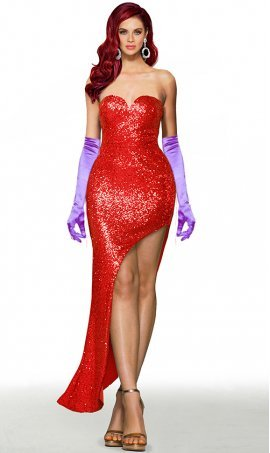 Jessica Rabbit Lover costume sweetheart side slit lace up open back sequin prom formal evening pageant gown dress