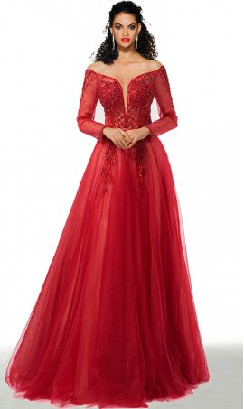 charming beaded off the shoulder sheer illusion long sleeves a line glitter tulle formal dress