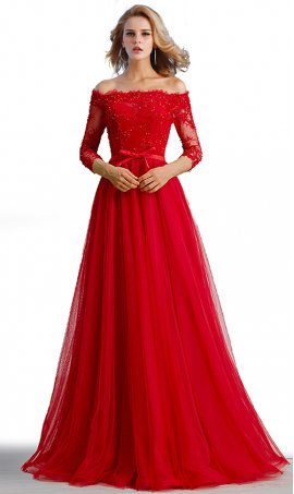 charming beaded off the shoulder three quarter length sleeves a line tulle ball gown prom formal evening dress