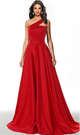 classic asymmetrical single one shoulder floor length a line satin evening dress