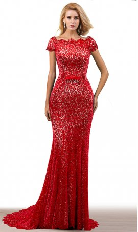 glamorous fully beaded short sleeves floor length mermaid lace evening formal gown dress
