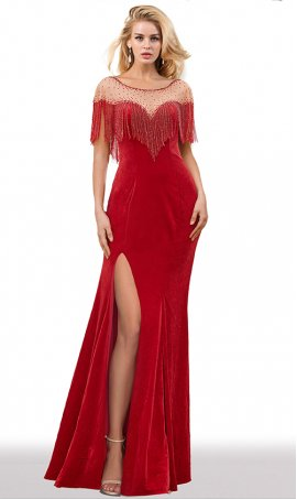 luxurious high thigh slit beaded fringe velvet prom formal evening dress