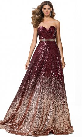 mesmerizing beaded waistband sweetheart strapless a line ombre sequin prom formal evening gown dress