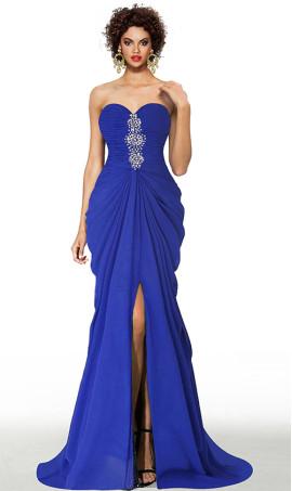 romantic beaded strapless sweetheart pleated front slit chiffon evening dress