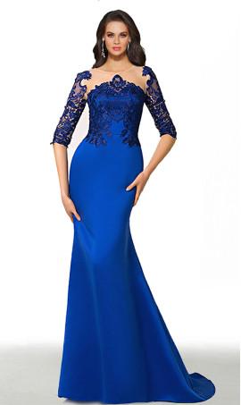 fabulous lace applique short sleeves satin mermaid formal evening dress
