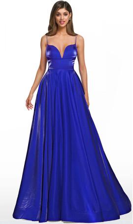 iridescent metallic v-neckline spaghetti straps a line prom ball gown dress