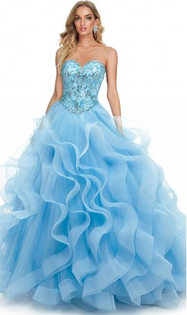 dramatic strapless sweetheart beaded tulle ruffle tiers quinceanera ball gown