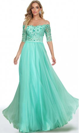 exquisite beaded lace applique off the shoulder a line tulle prom formal evening dress