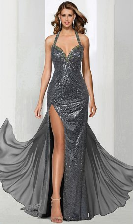 charming plunge halter neck criss cross open back chiffon tail sequin prom formal evening pageant dress gown