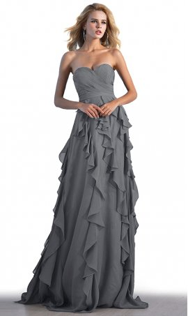 fabulous strapless sweetheart ruched bodice tiered ruffle skirt long prom formal evening bridemsmaid dress