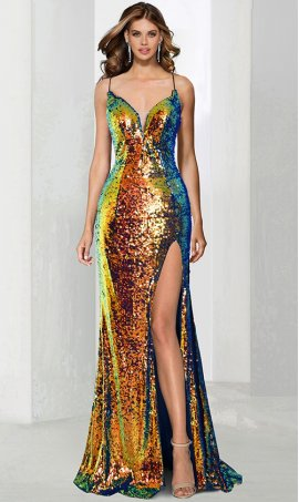 striking plunging v neck hight thigh slit multi-color sequined prom formal evening pageant gown dress
