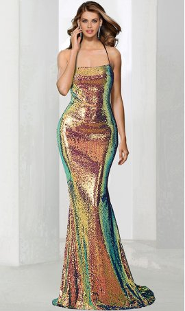 stunning square neckline multi color sequin open back mermaid prom formal evening peageant gown dress
