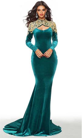 amazing long sleeves gold lace applique high neck velvet evening dress