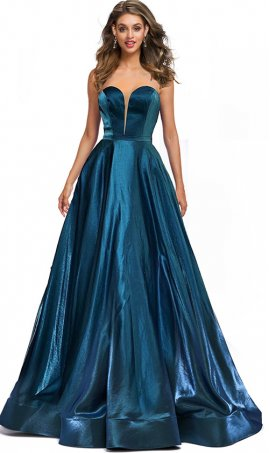 iridescent metalic a line plunging sweetheart glitter satin ball gown prom dress