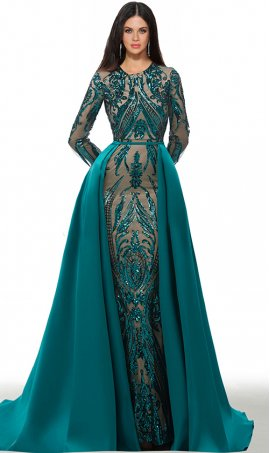 magnificent patternedly-sequined long sleeves floor length mermaid dress with satin overlay skirt