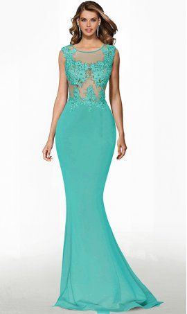 exciting sheer illusion lace bodice floor length mermaid jersey prom formal evening pageant gown dress