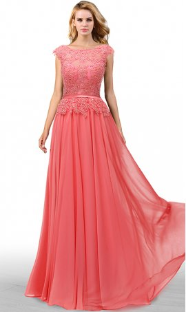 graceful beaded lace applique bateau neckline a line chiffon prom formal evening bridesmaid dress