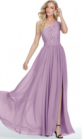 fabulous single one shoulder lace bodice a line chiffon prom formal evening bridesmaid dress