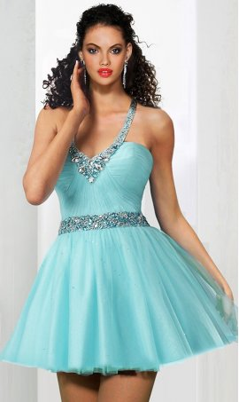 Charming beaded halter v neck a line short tulle prom cocktail homecoming party Dress Gown