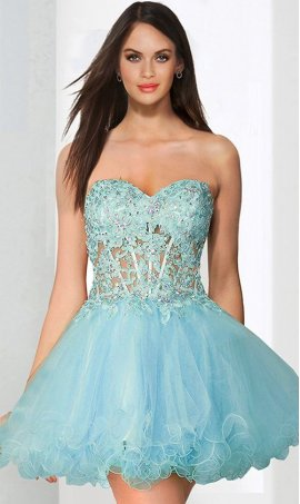 Chic eye catching rhinestones corset style layered tulle short baby doll lace Dress Gown