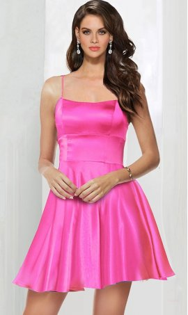 stylish scoop neckline lace up open back short satin prom homecoming party cocktail Dress Gown