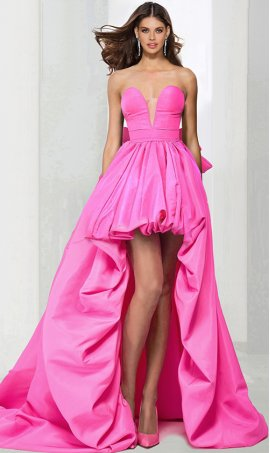 Chic flawless strapless sweetheart high low bubble skirt hi low prom formal evening pageant Dress Gown