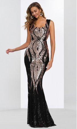 Chic striking constrast sequin embellished color block two toned floor length mermaid sequin prom formal evening pageant Dress Gown