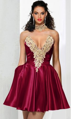 Chic collared style beaded gold lace applique plunging neckline short satin prom homecoming party graduation Dress Gown