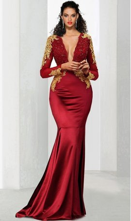 Gorgeous gold lace applique plunging v neck illusion long sleeves beaded lace bodice satin mermaid prom formal evening pageant Dress Gown