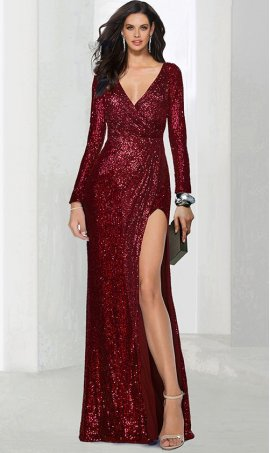 Chic glamorous deep v neck long sleeve high thigh slit sequin prom formal evening pageant Dress Gown
