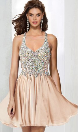 Charming beaded Lace bodice deep v neckline short chiffon prom homecoming party graduation Dress Gown