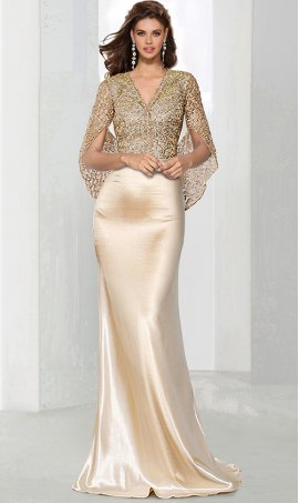 Chic glamorous cape sleeves v neck beaded lace bodice floor length satin formal evening Dress Gown