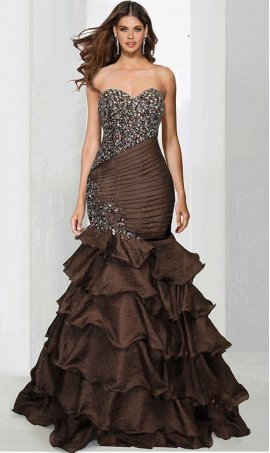 Chic Flawless Beaded Strapless Pleated fitted Ruffled Layered Skirt Taffeta Mermaid Prom Formal Pageant Evening Dress Gown