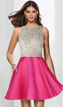 Chic shimmering beaded bodice high neck a line short satin prom homecoming party graduation Dress Gown