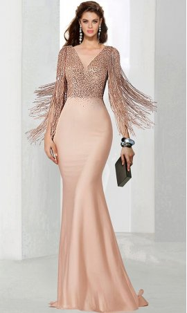 Chic breathtaking fringe accented long sleeve v neck sequin bodice jersey mermaid prom formal evening pagaent Dress Gown