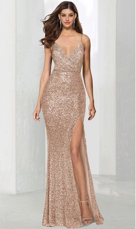 Chic jaw dropping v neck high thigh slit sequin prom formal evening pagaent Dress Gown