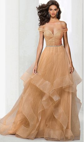Chic awe-inspiring off the shoulder beaded ruffled glitter tiered tulle ball prom formal evening quinceanera Dress Gown
