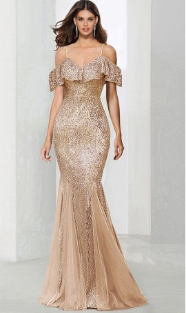 Flawless ruffle off the shoulder mermaid sequin tulle prom formal evening pegeant Dress Gown