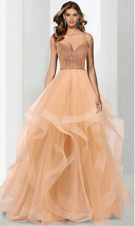 Chic stunning beaded sweetheart spaghetti straps a line ruffled tiered tulle prom formal ball pageant Dress Gown