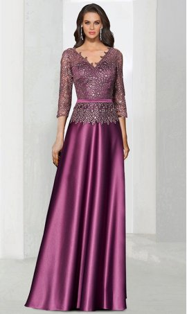 Chic beaded lace applique v neck 3 quarter length mother groom lace satin formal evening party Dress Gown