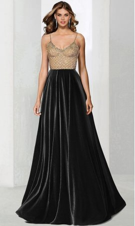 Chic captivating beaded bodice v neck spaghetti straps a line velvet prom formal evening pageant Dress Gown