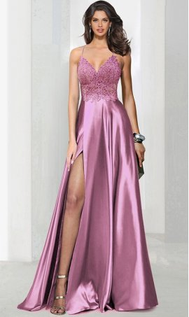 Charming beaded lace applique deep v neck lace bodice high thigh slit satin prom formal evening pageant Dress Gown
